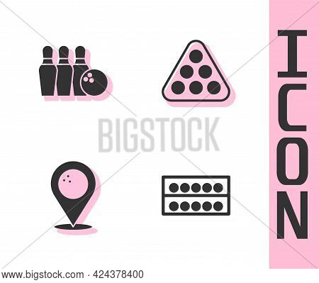 Set Billiard Balls On A Stand, Bowling Pin, Location With Bowling And Rack Triangle Icon. Vector