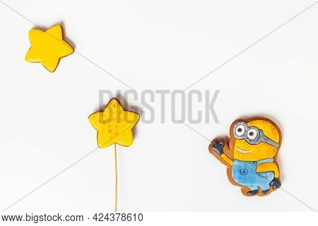 Homemade Ginerbread Cookies In The Shape Of Minions. Character Of The Animated Movie ''despicable Me