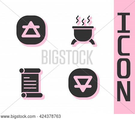 Set Earth Element, Air, Decree, Parchment, Scroll And Witch Cauldron Icon. Vector