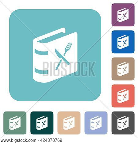 Cookbook With Knife And Fork White Flat Icons On Color Rounded Square Backgrounds