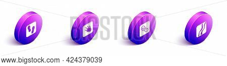Set Isometric Human Footprints Shoes, Alligator Crocodile, And Snake Paw Icon. Vector