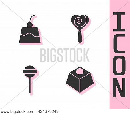 Set Brownie Chocolate Cake, Pudding Custard, Lollipop And Icon. Vector