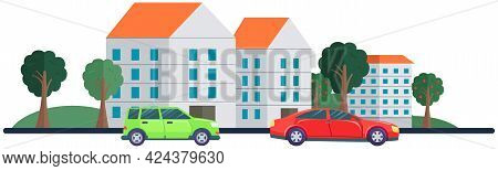 Gray And Red Cars In City. Cars Are Driving On Road. Landscape With Residential Buildings And Automo