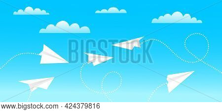 Paper Plane Flying In Blue Sky. Pattern Mockup Design Vector Illustration. Airplanes Made As Origami
