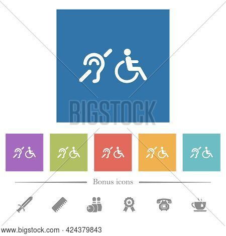 Hearing Impaired And Wheelchair Symbols Flat White Icons In Square Backgrounds. 6 Bonus Icons Includ