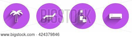 Set Tropical Palm Tree, Sunbed And Umbrella, Whiskey Bottle Glass And Air Conditioner Icon With Long
