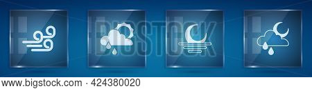 Set Windy Weather, Cloud With Rain And Sun, Sunset And Moon. Square Glass Panels. Vector