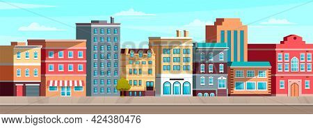 Cityscape With Apartment And Residential Buildings. Exterior Of Houses On Street In City. Roadway, C