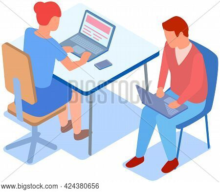 People Using Their Laptops While Working In Office. Woman Sitting And Typing On Computer. Teamwork W
