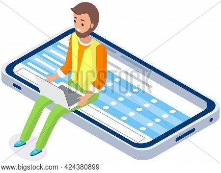Man Working Or Studying Online. Guy With Laptop Sitting On Mobile Phone Screen. Online Learning Conc
