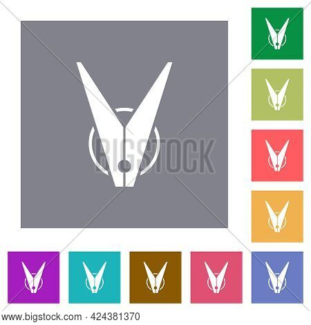 Clothespin Flat Icons On Simple Color Square Backgrounds