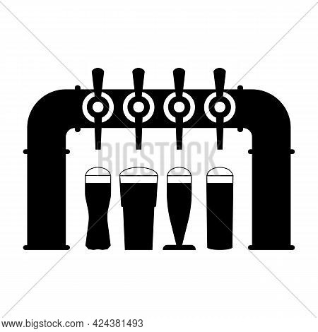 Beer Pump With Set Of Taps And Handles And Full Beer Glasses With Foam. Pouring Beer In Glass Mugs.