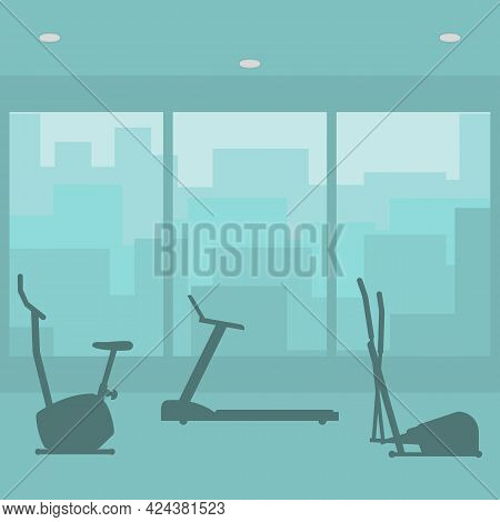 Fitness Gym With Sports Equipments. Interior Room Of Fitness Center. Set Silhouettes Of Icons Exerci