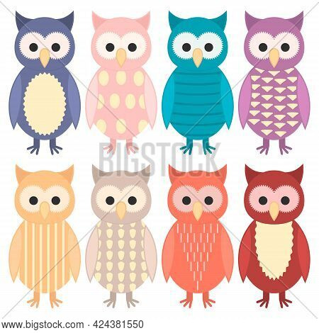 Set Of Bright Cute Colorful Nestlings Of Owl In Different Clothes And Suits. Owlets With Different P