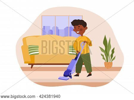 Cute Little Boy Vacuuming The Floor. Kids Doing Housework Chores At Home Concept. Flat Cartoon Vecto