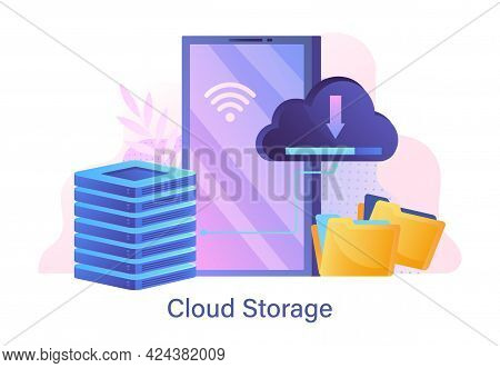 Web Hosting And Cloud Storage Concept. Cloud Computing, Technology, Online Database, Security, Compu