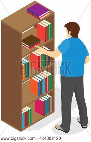 Man Pulls Out Book From Shelf. Librarian Works With Textbooks. Male Person Stretches His Hand For Bo