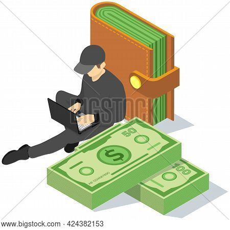 Man Works On Computer And Makes Money. Male Character In Black Clothes With Laptop Sitting Next To W