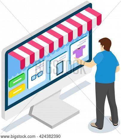 Shopping With Special Store Application. Man Is Using Computer With Website For Buying And Ordering.