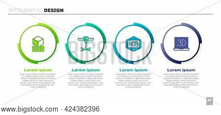 Set 3d Printer Services, Wrench Spanner, Rgb And Cmyk Color Mixing And . Business Infographic Templa