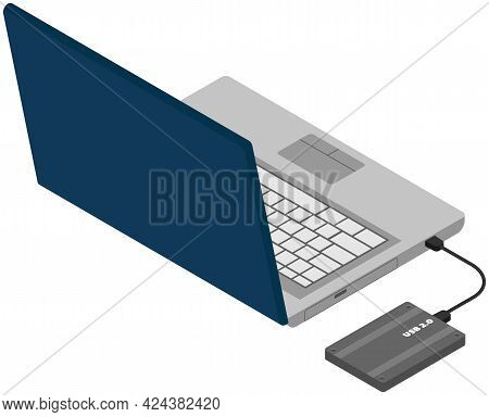 Laptop And Hard Disk Storage, Vector Design Isolated On White Background Modern Computer And Usb Dev