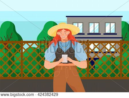 Woman With Smartphone Is Communicating During Walk. Female Character Using Mobile Device On Nature.