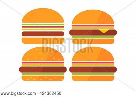 Cheeseburger. Simple Icon Set. Flat Style Element For Graphic Design. Vector Eps10 Illustration.