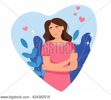 Happy Young Woman With Closed Eyes Hugging Herself. Positive Lady Expressing Self Love And Care. Bod