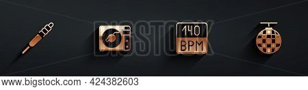 Set Audio Jack, Vinyl Player With Vinyl Disk, Bitrate And Disco Ball Icon With Long Shadow. Vector