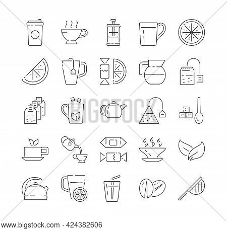Coffee, Tea, Juice, Beverages Linear Icons. Teapot, Coffeepot And Hot Drink With Steam. Lemon, Tea B