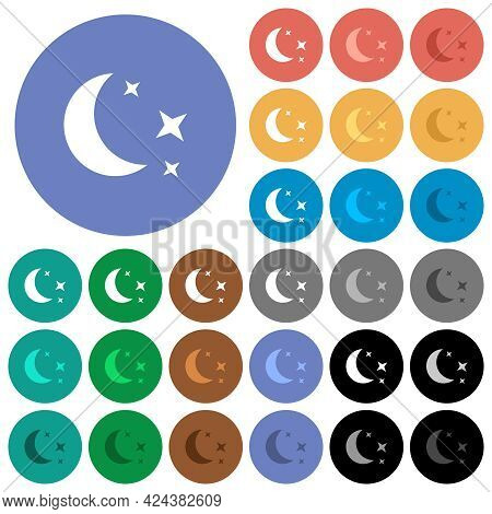 Moonlit Night Multi Colored Flat Icons On Round Backgrounds. Included White, Light And Dark Icon Var