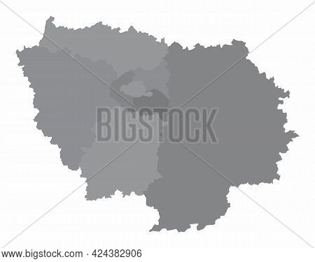 Ile-de-france Region, Administrative Grayscale Map Isolated On White Background, France
