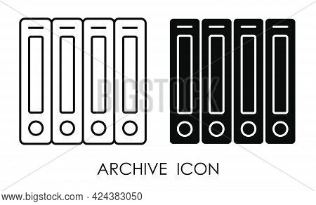 Archive With Documents Icon. Storage Of Accounting, Financial And Personal Documents In Archive. Sim