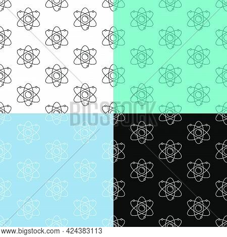 Set Of Seamless Patterns With Atom Icon. Electrons Revolve Around Proton In Orbits. School. Ornament