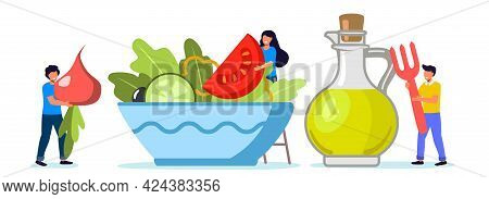 Cooking Salad Tiny People Standing By Huge Salad Bowl Flat Vector Illustration For Poster Banner Web