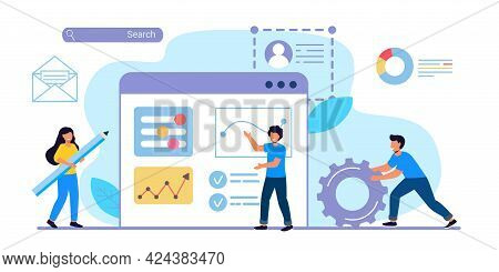 Building Website Project As Programming Homepage Process Tiny Person Vector Illustration Concepts Fo