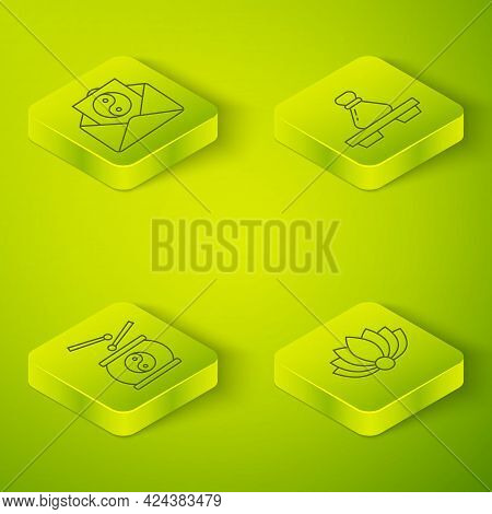 Set Isometric Dumpling On Cutting Board, Chinese Drum, Lotus Flower And Yin Yang And Envelope Icon.