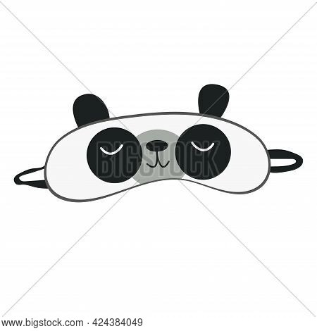 Sleep Mask With Cute Panda Face. Eye Protection Wear Accessory. Relaxation Blindfold. Cartoon Vector
