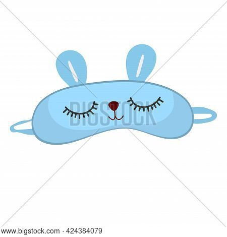 Sleep Mask With Cute Rabbit Face. Eye Protection Wear Accessory. Relaxation Blindfold. Cartoon Vecto