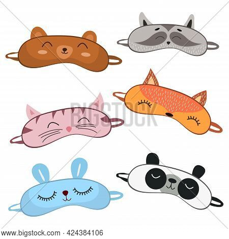 Set Of Sleep Masks For Eyes With Cute Animals. Eye Protection Wear Accessories. Night Accessory To H