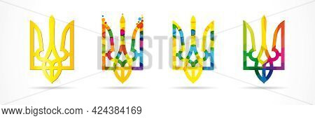 Colored Set Of Ukraine Emblems - Classic, Bubbles And Stained. Vector Illustration For National  Ukr