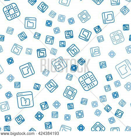 Set Line File Missing, Processor With Cpu And Browser Files On Seamless Pattern. Vector