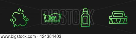 Set Line Bottle For Cleaning Agent, Water Spill, Temperature Wash And Brush. Gradient Color Icons. V