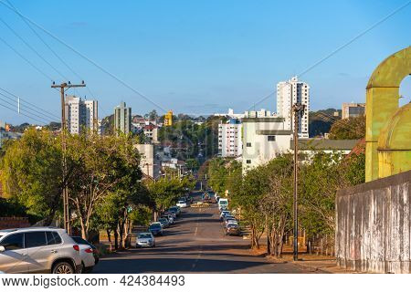 Street In The City Of Ijui In The State Of Rs In Brazil