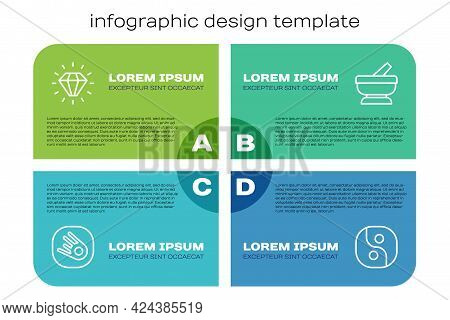 Set Line Comet Falling Down Fast, Diamond, Yin Yang And Mortar And Pestle. Business Infographic Temp