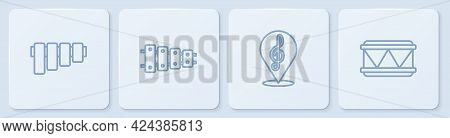 Set Line Pan Flute, Treble Clef, Xylophone And Drum. White Square Button. Vector