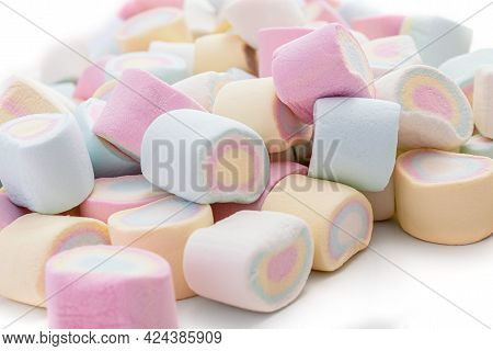 Marshmallows Multicolored. Food Background. Sweets. Close-up. High Quality Photo