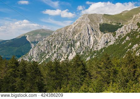 View Of The Majestic Massif Of Monte Bove In The Marche Region, Italy