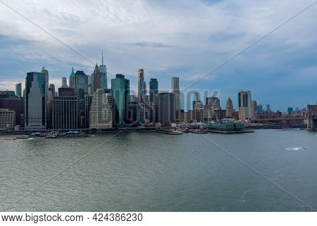 Beautiful America Of Aerial View On New York City Manhattan Skyline Panorama With Skyscrapers Over H