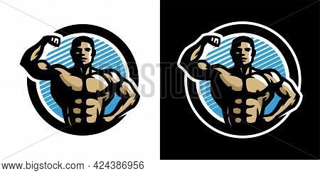 Posing Athlete. Bodybuilding And Fitness Logo, On A Light And Dark Background. Vector Illustration.